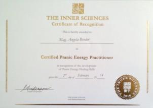 """Zertifikat: """"Certified Pranic Energy Practitioner"""""""